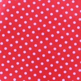 Tissu coton pois 6mm - fuchsia/rouge x 10cm