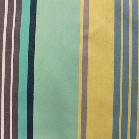 Tissu enduit coton Canarias - bleu x 10cm