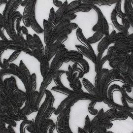Tissu Dentelle brodée sur tulle Adèle - noir x 10cm