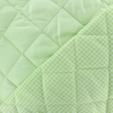 Baby Quilted Cotton Stitched Fabric - anise x 10cm