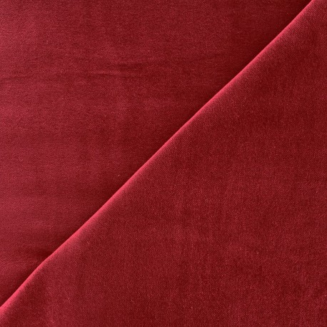 Tissu Velours ras Bradford - rouge carmin x10cm