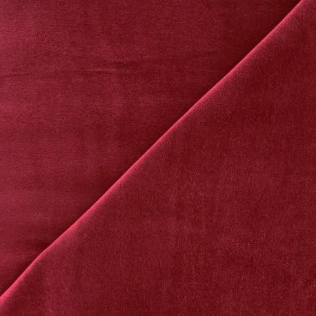 Tissu Velours ras Bradford - lie de vin x10cm