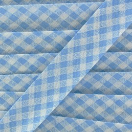 Bias binding, gingham 18 mm - light blue