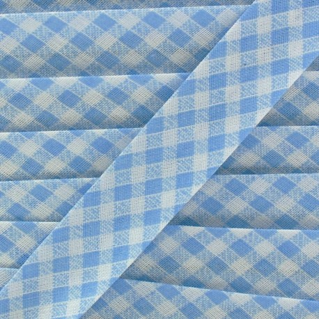 Bias binding, gingham 18 mm - blue