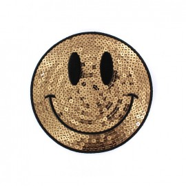 Embroidered iron on patch  sequins giant Smiley  - gold