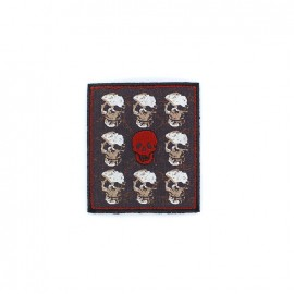 Embroidered pirate Iron on - red skull