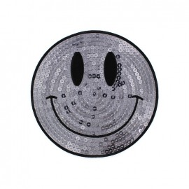 Embroidered iron on patch  sequins giant Smiley  - silver