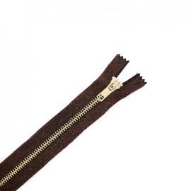 Fermeture à glissière métal brillante non séparable - lurex cuivre