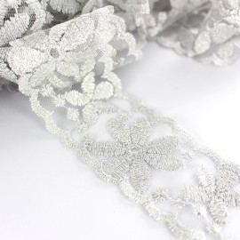 Embroidered lurex ribbon Fleurs 45 mm - silver x 50cm