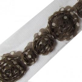Rag flowers with ecru polka dots 50 cm - taupe