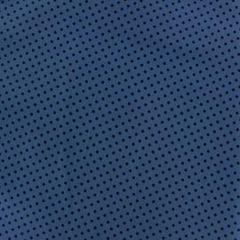 Tissu coton pois 2mm - noir/bleuet x 10cm
