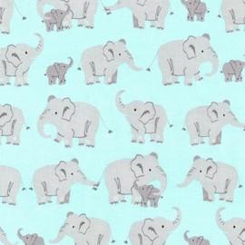 Wild Adventure fabric Eléphant - nature x 60cm