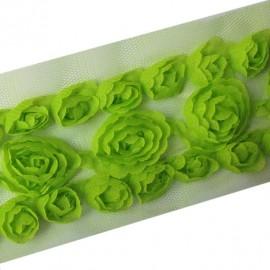 Ribbon Flowers on tulle 50 cm - green