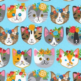 Tissu Whiskers et tails Cats - blue x 44cm