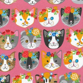 Tissu Whiskers et tails Cats - pink x 44cm