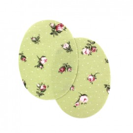 Iron-on elbow patch peony flowers - light green (x 2)