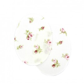 Iron-on elbow patch peony flowers - white (x 2)
