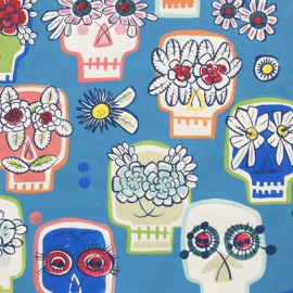 Tissu coton Flower Eyes - blue x 59cm