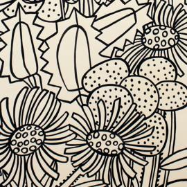 Tissu coton Succulent - tea/black x 63cm