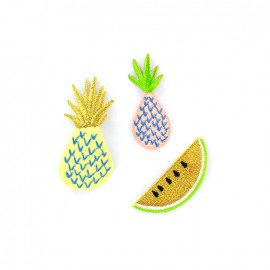 Embroidered iron on patch Tropical spring (x 3) - pineapple / watermelon