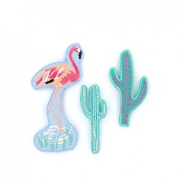 Embroidered iron on patch Tropical spring (x 3) - cactus / flamingo