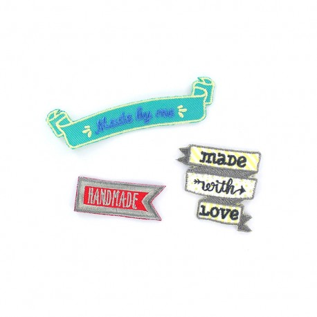 Embroidered label iron-on patch (x3) - banners