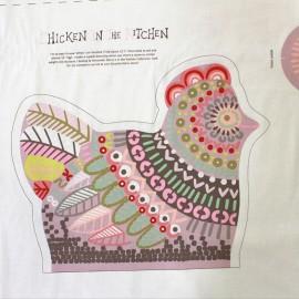 Tissu coton Chicken in the kitchen pannel - pink x 60cm