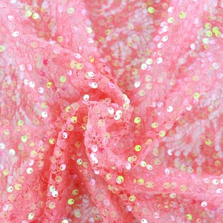 Tissu Dentelle Sequin Summer  - corail x 10cm