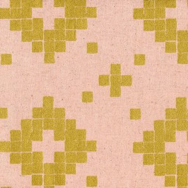 Tissu coton/lin Tiles - rose metallic gold x 10 cm