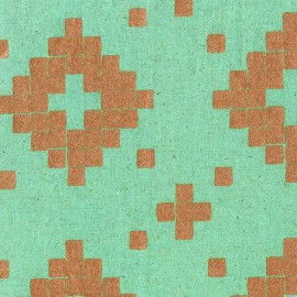 Tissu coton/lin Tiles - aqua metallic copper x 10 cm