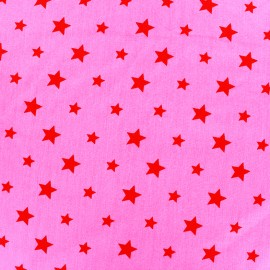 Tissu coton Stars bicolore - rouge/rose bonbon x 10cm