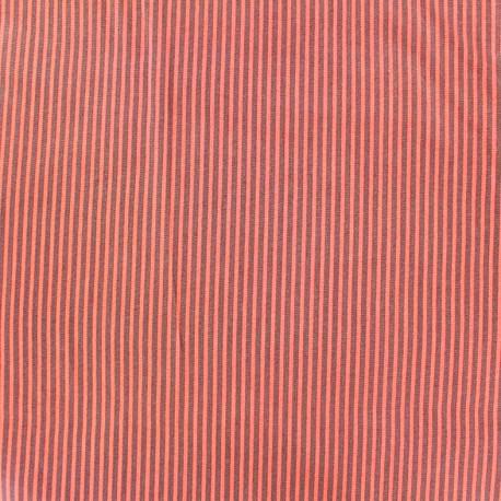 Tissu coton Mini Rayures Bicolore - orange/brunx 10cm