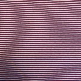 Two-colored Cotton Fabric Mini Rayures on horizontal width - purple/mauve x 10cm