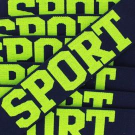 Elastique plat Sport - jaune fluo/marine x 1m