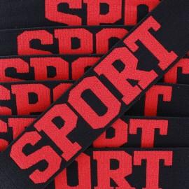 Elastique plat Sport - rouge/noir x 1m