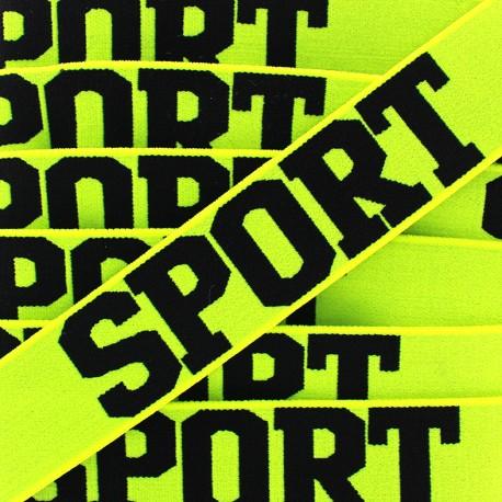 Elastique plat Sport - noir/jaune fluo x 1m