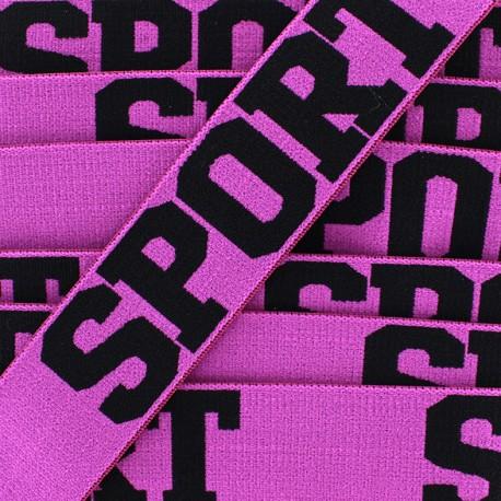 Elastique plat Sport - noir/violet x 1m