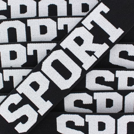 Elastique plat Sport - blanc/noir x 1m