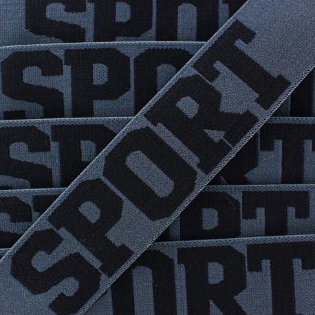 Flat elastic Sport - black/anthracite x 1m