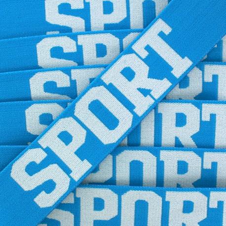 Elastique plat Sport - blanc/bleu x 1m