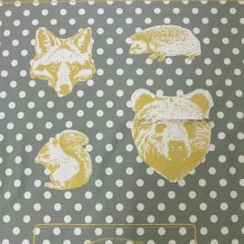 Tissu toile de coton Kokka Animals - mist metallic gold x 60 cm