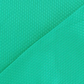 Stitched woven cotton fabric - blue green x 10cm