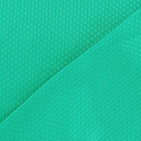 Tissu piqué de coton tissé bleu vert x 10cm