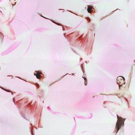 Tissu popeline à impression digitale - Pink Ballerina x 60cm