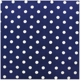 Cotton Fabric pois 7 mm - white/blue navy x 10cm
