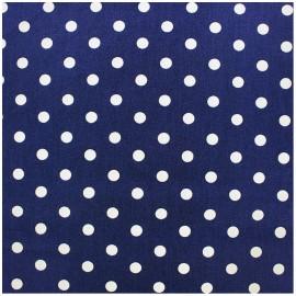 Tissu coton pois 7mm - blanc/bleur marine x 10cm