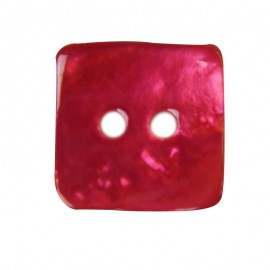 Button, mother-of-pearl square-shaped - fuchsia