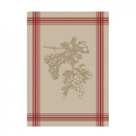 French Tea towel linen / red stripes - Grappe de raisin