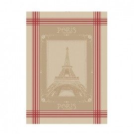 French Tea towel linen / red stripes -  La Tour Eiffel