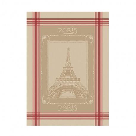French Tea towel linen / red stripes -  La Tour Eiffel
